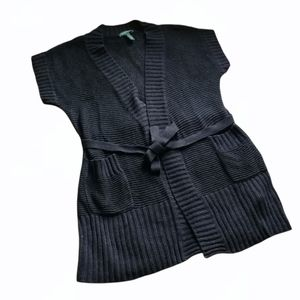 RALPH LAUREN Black knit short sleeve cardigan vest tie belt Linen Cotton Blend S